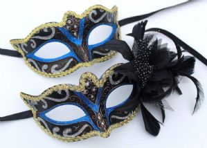 Blue and Gold Masquerade Mask - His and Hers Masks | Masks and Tiaras